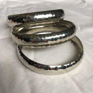 Set of 3 silver bangle bracelets